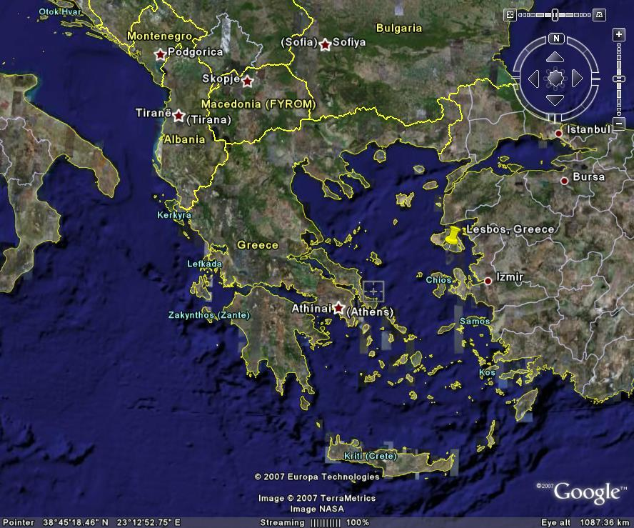 Lesbos map Google Earth