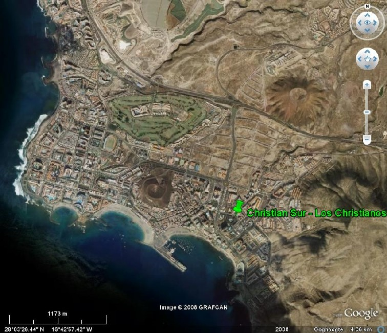 Tenerife Google Earth 4 km Playa de las Americas